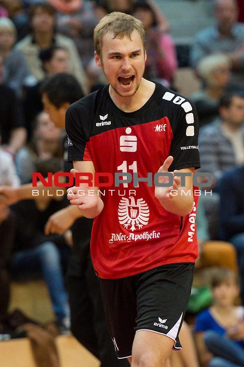 27.10.13, ENNI Sportpark, Moers,  Volleyball, Bundesliga Maenner, Moerser SC vs. VC Dresden<br />  <br /> <br /> Jubel Nicolas Marks (#11 Moers)<br /> <br />   Foto &copy; nph / Kurth