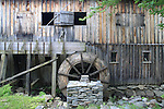 Water wheel on the side of a sawmill, Leonards Mills, Bradley, Maine, USA