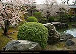 Garden Pond and Kairo roofed colonnade, Sanjusangendo Rengeo-in, Kyoto, Japan