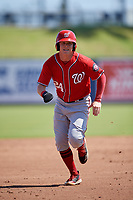 Washington Nationals Jake Randa (24) running the bases during an Instructional League game against the Miami Marlins on September 26, 2019 at FITTEAM Ballpark of The Palm Beaches in Palm Beach, Florida.  (Mike Janes/Four Seam Images)