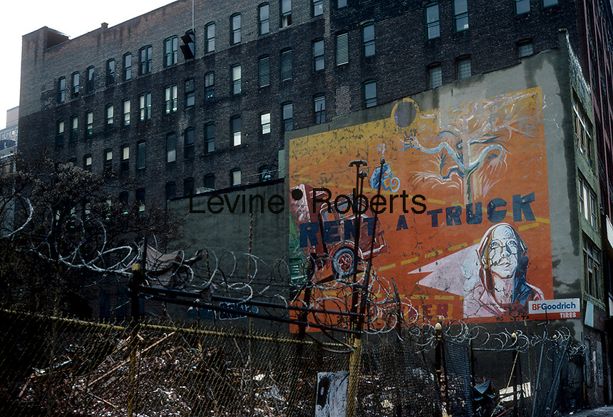 Abandoned vacant lot on the Bowery and East Fourth Street (NW corner) is seen in the East Village in New York in February 1988. (© Frances M. Roberts