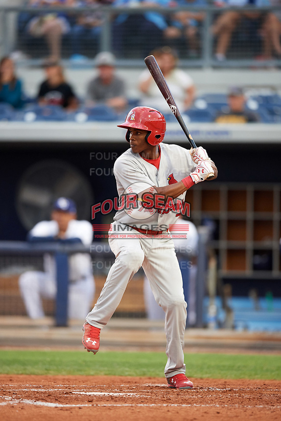 Palm Beach Cardinals center fielder Magneuris Sierra (7) at bat during a game against the Charlotte Stone Crabs on April 11, 2017 at Charlotte Sports Park in Port Charlotte, Florida.  Palm Beach defeated Charlotte 12-6.  (Mike Janes/Four Seam Images)