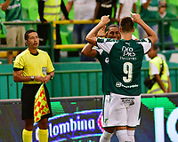 PALMIRA - COLOMBIA, 31-03-2019: Juan Ignacio Dinenno del Cali celebra después de anotar el primer gol de su equipo durante partido por la fecha 12 de la Liga Águila I 2019 entre Deportivo Cali y Cúcuta Deportivo jugado en el estadio Deportivo Cali de la ciudad de Palmira. / Juan Ignacio Dinenno of Cali celebrates after scoring the first goal of his team during match for the date 12 as part Aguila League I 2019 between Deportivo Cali and Cucuta Deportivo played at Deportivo Cali stadium in Palmira city.  Photo: VizzorImage / Nelson Rios / Cont