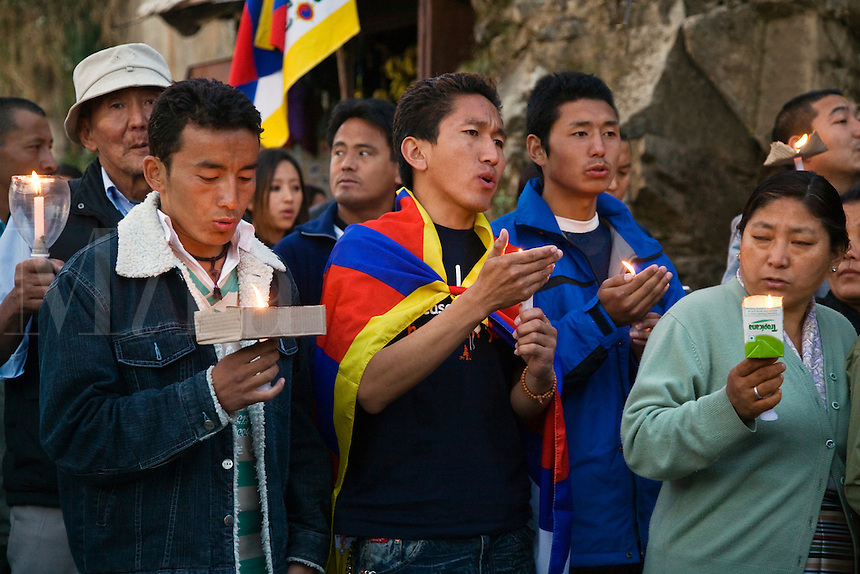 TIBETAN youth march in protest of the Chinese human rights abuses in Tibet on the streets of MCLEOD GANJ - DHARAMSALA, INDIA