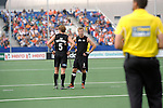 The Hague, Netherlands, June 03: Andy Hayward #5 of New Zealand and Dean Couzins #8 of New Zealand wait for the video umpires desicion during the field hockey group match (Men - Group B) between South Africa and the Black Sticks of New Zealand on June 3, 2014 during the World Cup 2014 at GreenFields Stadium in The Hague, Netherlands. Final score 0:5 (0:3) (Photo by Dirk Markgraf / www.265-images.com) *** Local caption ***