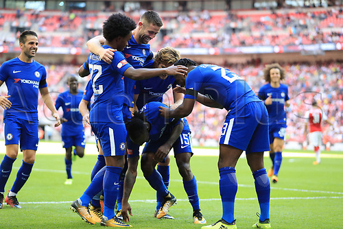 August 6th 2017, Wembley Stadium, London, England; FA Community Shield Final, Arsenal versus Chelsea; Victor Moses of Chelsea celebrates with team mates after scoring making it 0-1