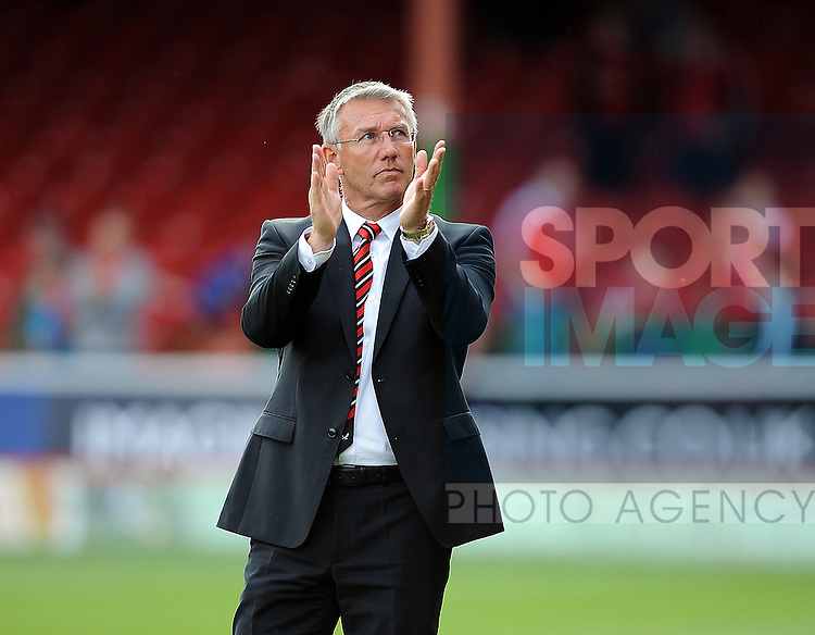 Sheffield United Manager Nigel Adkins applauds the Sheffield United fans at the end of the game<br /> - English League One - Swindon Town vs Sheffield Utd - County Ground Stadium - Swindon - England - 29th August 2015 <br /> --------------------
