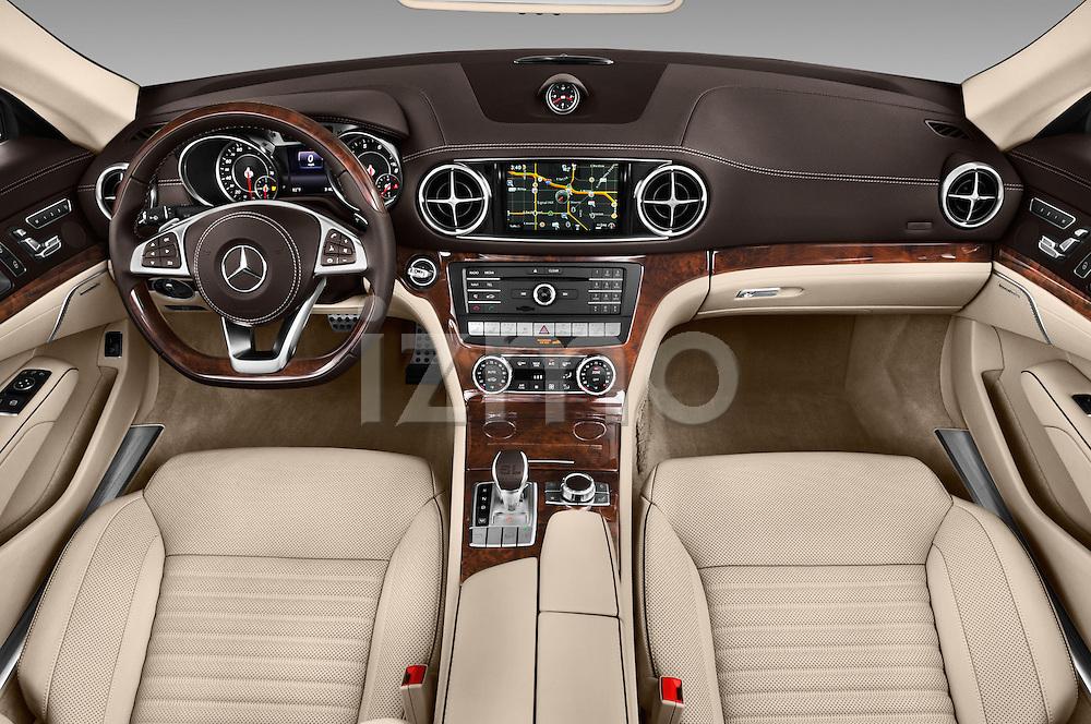 Stock photo of straight dashboard view of 2017 Mercedes Benz SL-Class SL450 2 Door Convertible Dashboard