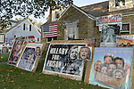 "Bellmore, New York, USA. November 2, 2016. Political signs against Democratic presidential candidate Hillary Clinton are in front yard Halloween display of Eileen Fuscaldo, a Donald Trump supporter. A ""Basket of Deplorables"" photo has heads of Clinton, Pres. Obama and others supporting her.  ""Hillary for Prison"" is another sign."
