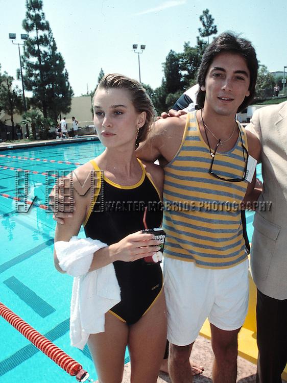 Nicolette Sheridan and boyfriend Scott Baio.Attending the Battle of the Network Stars at Pepperdine University in Malibu, California..August 24, 1988.© Walter McBride /