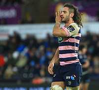 Cardiff Blues' Josh Navidi in action during todays match.<br /> <br /> Photographer Dan Minto/CameraSport<br /> <br /> Guinness Pro14 Round 13 - Ospreys v Cardiff Blues - Saturday 6th January 2018 - Liberty Stadium - Swansea<br /> <br /> World Copyright &copy; 2018 CameraSport. All rights reserved. 43 Linden Ave. Countesthorpe. Leicester. England. LE8 5PG - Tel: +44 (0) 116 277 4147 - admin@camerasport.com - www.camerasport.com