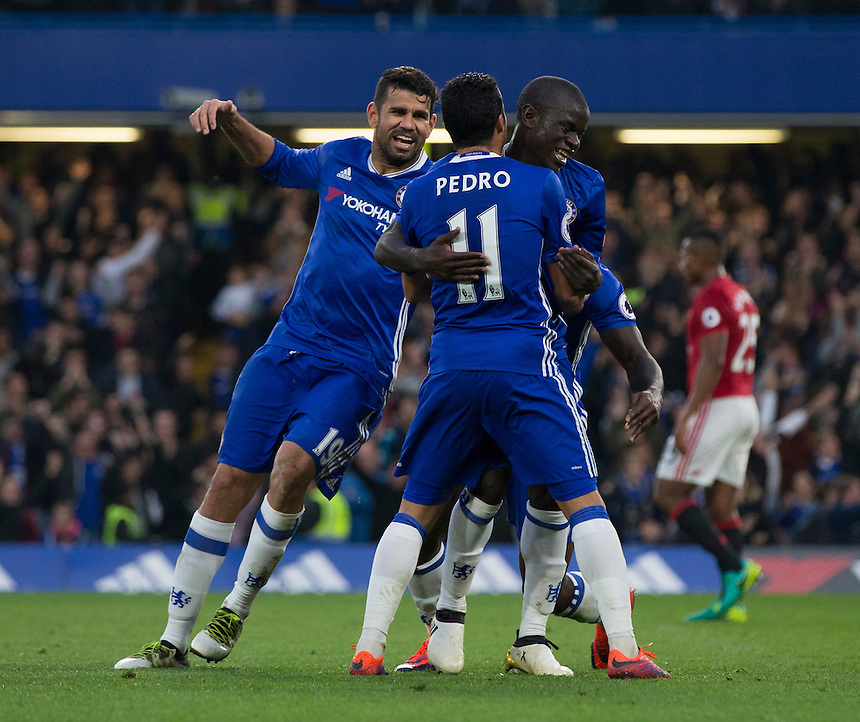 Chelsea's Ngolo Kante celebrates with team mates after scoring his sides fourth goal <br /> <br /> Photographer Craig Mercer/CameraSport<br /> <br /> The Premier League - Chelsea v Manchester United - Sunday 23rd October 2016 - Stamford Bridge - London<br /> <br /> World Copyright &copy; 2016 CameraSport. All rights reserved. 43 Linden Ave. Countesthorpe. Leicester. England. LE8 5PG - Tel: +44 (0) 116 277 4147 - admin@camerasport.com - www.camerasport.com