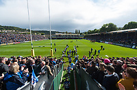 The Bath Rugby team run onto the field prior to the match. Aviva Premiership match, between Bath Rugby and Saracens on September 9, 2017 at the Recreation Ground in Bath, England. Photo by: Patrick Khachfe / Onside Images