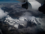 Snow covered mountains in the Andes as seen from a jet.