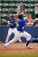 Biloxi Shuckers third baseman Brandon Macias (27) at bat during a game against the Birmingham Barons on May 24, 2015 at Joe Davis Stadium in Huntsville, Alabama.  Birmingham defeated Biloxi 6-4 as the Shuckers are playing all games on the road, or neutral sites like their former home in Huntsville, until the teams new stadium is completed in early June.  (Mike Janes/Four Seam Images)