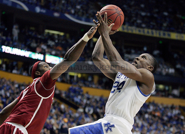 Freshman guard Eric Bledsoe takes a shot during the second half of the UK men's basketball team's 73-67 win over Alabama in the quarterfinals of the SEC tournament at the Sommet Center Friday, March 12, 2010. Photo by Britney McIntosh | Staff