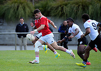 Corey Evans kicks ahead during the rugby match between New Zealand Schools Barbarians and Fiji Schools at Jerry Collins Stadium in Porirua, Wellington, New Zealand on Friday, 1 October 2018. Photo: Dave Lintott / lintottphoto.co.nz