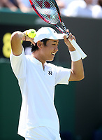 Yoshihito Nishioka (JPN) during his first round match against  Marin Cilic (CRO)<br /> <br /> Photographer Rob Newell/CameraSport<br /> <br /> Wimbledon Lawn Tennis Championships - Day 1 - Monday 2nd July 2018 -  All England Lawn Tennis and Croquet Club - Wimbledon - London - England<br /> <br /> World Copyright &not;&copy; 2017 CameraSport. All rights reserved. 43 Linden Ave. Countesthorpe. Leicester. England. LE8 5PG - Tel: +44 (0) 116 277 4147 - admin@camerasport.com - www.camerasport.com