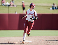 NWA Democrat-Gazette/CHARLIE KAIJO Oklahoma outfielder Raegan Rogers (24) rounds second before scoring during a softball match, Sunday, October 28, 2018 at Bogle Park, University of Arkansas in Fayetteville.<br />