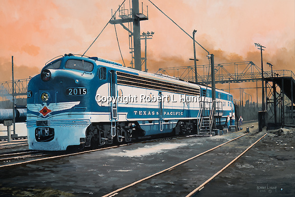 Texas and Pacific E6 diesel locomotives fueling up while waiting the call to service under hot summer evening skies, Dallas, Texas. Oil on canvas 18x27 inches.