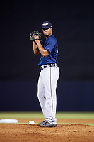 Lakeland Flying Tigers starting pitcher Fernando Perez (39) gets ready to deliver a pitch during the second game of a doubleheader against the Tampa Tarpons on May 31, 2018 at George M. Steinbrenner Field in Tampa, Florida.  Lakeland defeated Tampa 3-2.  (Mike Janes/Four Seam Images)