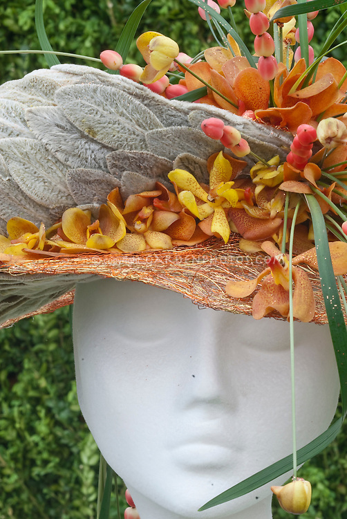 Hats Made from Orchid Flowers & Plants designed by Neil Whittaker, Design Element Flowers, Manchester, England