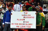 A fan holds a banner in honour of Fernando Torres of Spain. USA defeated Spain 2-0 during the semi-finals of the FIFA Confederations Cup at Free State Stadium in Manguang/Bloemfontein, South Africa on June 24, 2009..