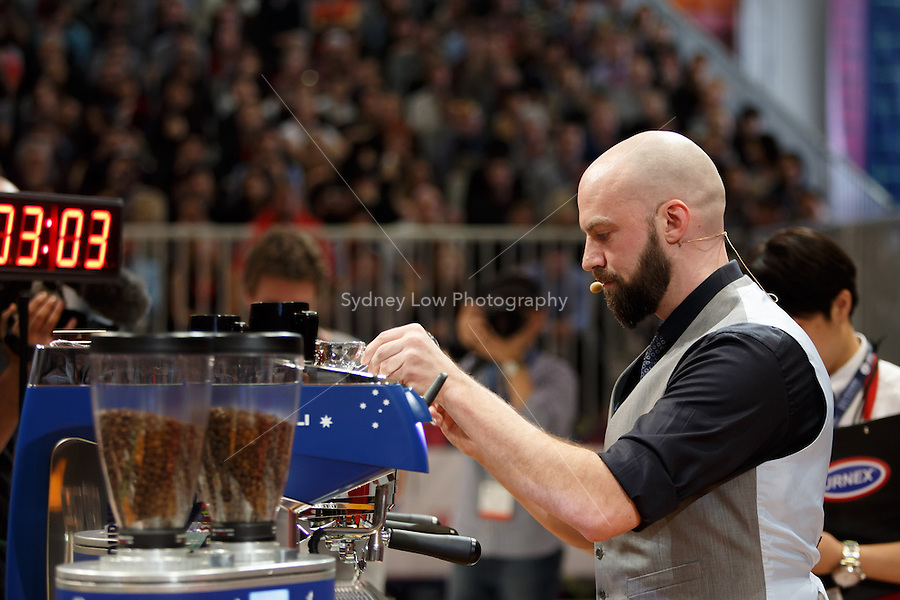 MELBOURNE, 26 MAY - Pete LICATA from USA shown here competing before being announced as the winner of the the 2013 World Barista Championship held at the Melbourne Show Grounds in Melbourne, Australia. Licata won in a field of national champion baristas from 53 countries. Photo Sydney Low / syd-low.com
