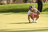 Apr. 1, 2006; Rancho Mirage, CA, USA; Lorena Ochoa lines up her putt during the 3rd round of the Kraft Nabisco Championship at Mission Hills Country Club. ..Mandatory Photo Credit: Darrell Miho.Copyright © 2006 Darrell Miho .