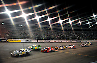 May 1, 2009; Richmond, VA, USA; (Editors Note: Special effects filter used in creation of this image) NASCAR Nationwide Series driver Kenny Wallace leads a pack of cars through turn one during the Lipton Tea 250 at the Richmond International Raceway. Mandatory Credit: Mark J. Rebilas-