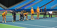 Moskou, Russia, Februari 4, 2016,  Fed Cup Russia-Netherlands,  Dutch team playing baseline game: ltr: Arantxa Rus, Richel Hogenkamp and Kiki Bertens<br /> Photo: Tennisimages/Henk Koster