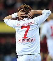 FUSSBALL   1. BUNDESLIGA  SAISON 2011/2012   30. Spieltag FC Augsburg - VfB Stuttgart           10.04.2012 Hajime Hosogai (FC Augsburg)