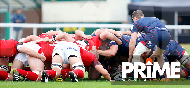Jamie Stevenson of London Scottish feeds the ball into the scrum during the Greene King IPA Championship match between London Scottish Football Club and London Welsh RFC at Richmond Athletic Ground, Richmond, United Kingdom on 10 September 2016. Photo by Carlton Myrie / PRiME Media Images.