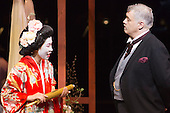 "London, UK. 25 February 2015. Hyeseoung Kwon as Cio Cio San/Butterfly and David Kempster as Sharpless. Dress rehearsal of the Puccini opera ""Madam Butterfly"", staged in the round of the Royal Albert Hall. The opera is performed from 26 February to 15 March 2015. Directed by David Freeman with Oliver Gooch conducting the Royal Philharmonic Orchestra. Cast includes: Hyeseoung Kwon as Cio Cio San/Butterfly, Jeffrey Gwaltney as Pinkerton, David Kempster as Sharpless, Sabina Kim as Suzuki, Michael Druiett as The Bonze, Julius Ahn as Goro and Lise Christensen as Kate Pinkerton."