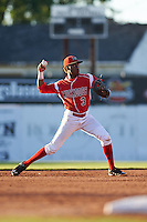 Batavia Muckdogs shortstop Anfernee Seymour (3) throws to first during a game against the Mahoning Valley Scrappers on June 23, 2015 at Dwyer Stadium in Batavia, New York.  Mahoning Valley defeated Batavia 11-2.  (Mike Janes/Four Seam Images)