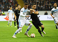 Sergej Milinkovic-Savic (Lazio Rom) gegen Filip Kostic (Eintracht Frankfurt) - 04.10.2018: Eintracht Frankfurt vs. Lazio Rom, UEFA Europa League 2. Spieltag, Commerzbank Arena, DISCLAIMER: DFL regulations prohibit any use of photographs as image sequences and/or quasi-video.