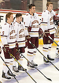 Michael Matheson (BC - 5), Teddy Doherty (BC - 4), Ian McCoshen (BC - 3), Scott Savage (BC - 2) - The Boston College Eagles defeated the visiting University of New Brunswick Varsity Reds 6-4 in an exhibition game on Saturday, October 4, 2014, at Kelley Rink in Conte Forum in Chestnut Hill, Massachusetts.