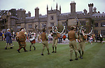 Abbotsbromley Horn Dance. Staffordshire. Horn dancers dancing on lawn in fromnt of Blithfield Hall. Residenceof Bagot Family. September