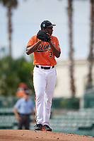 Baltimore Orioles pitcher Hector Guance (35) gets ready to deliver a pitch during a Florida Instructional League game against the Pittsburgh Pirates on September 22, 2018 at Ed Smith Stadium in Sarasota, Florida.  (Mike Janes/Four Seam Images)
