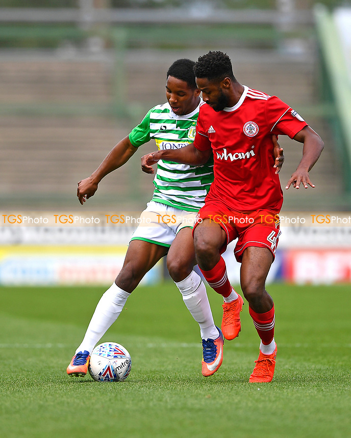 Rhys Browne of Yeovil Town eft and Janoi Donacien of Accrington Stanley vie for the ball during Yeovil Town vs Accrington Stanley, Sky Bet EFL League 2 Football at Huish Park on 12th August 2017
