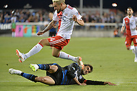 San Jose, CA - Wednesday June 13, 2018: Chris Wondolowski, Diego Fagundez during a Major League Soccer (MLS) match between the San Jose Earthquakes and the New England Revolution at Avaya Stadium.