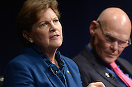 Washington, DC - February 11, 2015: U.S. Senator Jeanne Shaheen participates in a panel discussion about the significance of the new Hampshire primary held at the Newseum in the District of Columbia, February 11, 2015, as political strategist James Carville  listens.  (Photo by Don Baxter/Media Images International)