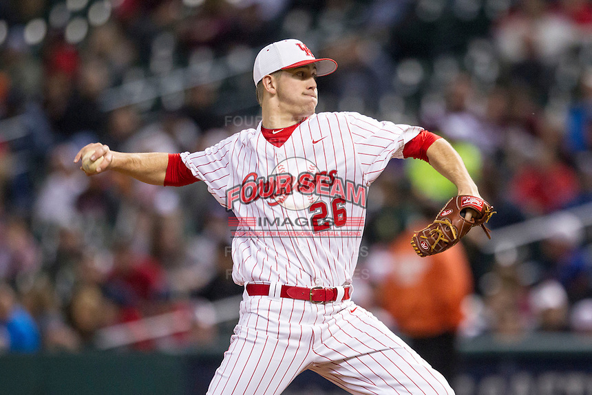 Houston Cougars pitcher Jake Lemoine (26) delivers a pitch to the plate during the NCAA baseball game against the Texas A&M Aggies on March 7, 2015 in the Houston College Classic at Minute Maid Park in Houston, Texas. Texas A&M defeated Houston 6-0. (Andrew Woolley/Four Seam Images)
