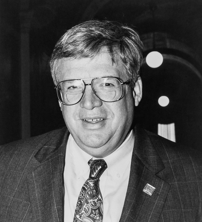 "Portrait of Rep. Dennis Hastert, R-Ill., conveys ""I might be able to stay in Congress a few more years"", on Feb. 25, 1991. (Photo by Jamie Howren/CQ Roll Call via Getty Images)"