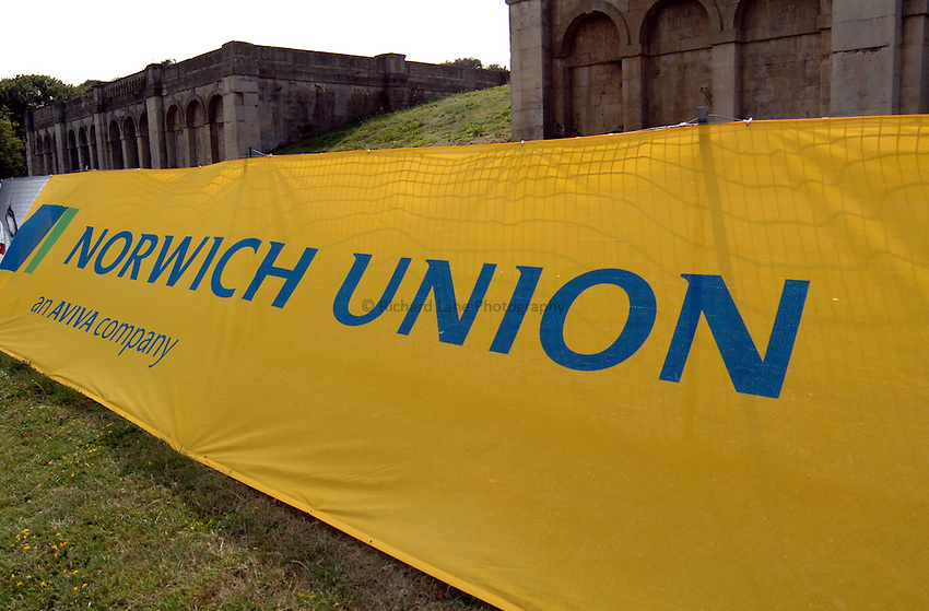 Photo. Henry Browne..Norwich Union London Grand Prix Athletics at Crystal Palace. 30/07/2004..Norwich Union banner outside the stadium.