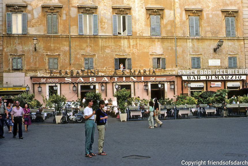 Italy: Rome--Piazza Santa Maria in Trastevere. Outdoor cafes at dusk. Photo '83.