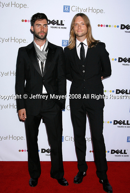SANTA MONICA, CA. - October 15: Recording artists Adam Levine and James Valentine of Maroon 5 arrive on the Red Carpet of the 2008 Spirit Of Life Award Dinner on October 15, 2008 in Santa Monica, California.