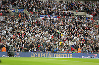 Pictured: Swansea supporters. Sunday 24 February 2013<br /> Re: Capital One Cup football final, Swansea v Bradford at the Wembley Stadium in London.