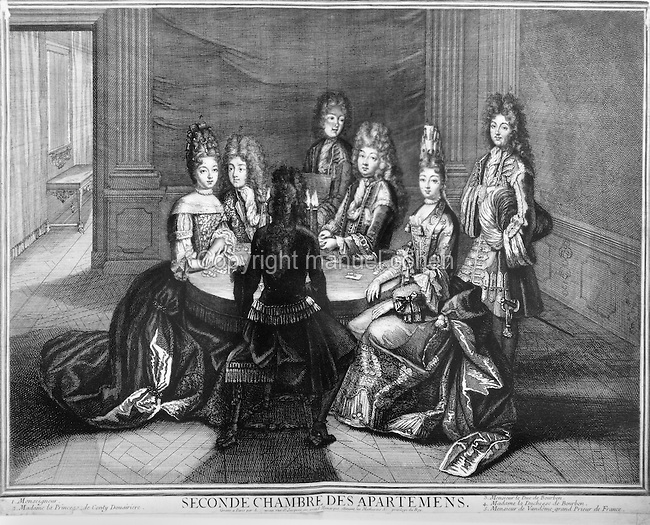 Members of the Court of King Louis XIV, 1638-1715, at a gambling table in the second room in the royal apartments in the Palace of Versailles, with (left - right), Monseigneur, the Princesse de Conty Douairiere, the Duc de Bourbon, Madame la Duchesse de Bourbon and Monsieur de Vandome, Grand prieur de France, engraving. Copyright © Collection Particuliere Tropmi / Manuel Cohen