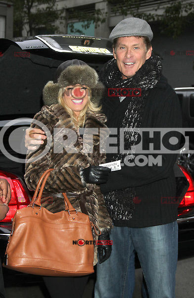 NEW YORK, NY - NOVEMBER 7: David Hasselhoff and Hayley Roberts at the Wendy Williams Show in New York City. November 7, 2012. Credit:  RW/MediaPunch Inc. .<br />